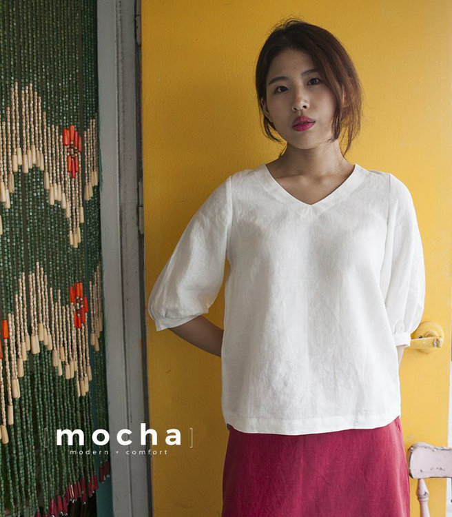 """Picture of MOCHA Lillie Blouse PDF Pattern - 4 Kinds of Paper(A4, US Letter, A0, 36""""x48"""")"""